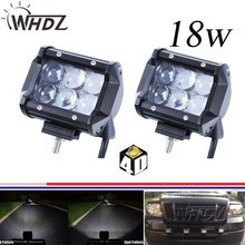 2pcs 12V 24V Flood Spot Beam 4 inch 18W LED Work Driving Light Bar with 4D LENS for Car Truck SUV 4x4 ATV OffRoad