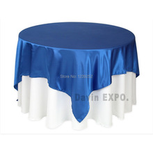 "NEW Arrival 145*145cm (57.1""x57.1"")  Blue Table Cloth Banquet Wedding/party Satin Tablecloth"