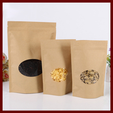 13*18+4 30pcs brown self zip lock kraft paper bags with window for gifts sweets and candy food tea jewelry retail package paper(China)