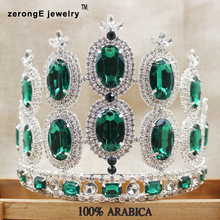 zerongE jewelry 5.2inch Vintage Royal Crown Green CZ Tiara for Bridal Wedding Hair Jewelry and Women Birthday Party Crowns