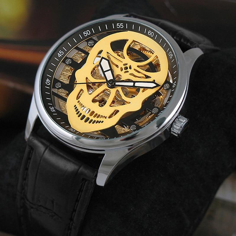 VIGOROSO Mens Waterproof Mechanical Watch Leather Fashion Sport Army Men Wristwatch Wind up Luminous Hand Punk Skull Steampunk<br>