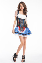 Free Shipping Womens Beer Maid Oktoberfest Dirndl Wench Ladies Fancy Dress Costume