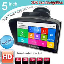 5' inch HD Car GPS Navigation 8GB/DDR3 2017 Maps For Europe/USA+Canada with Sunshade Sunshield bracket Truck Camper Caravan(China)