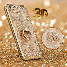 Gold Plating Case 3D Rugged Flower Glitter Diamonds Phone Cases For iPhone 7 7plus TPU soft Ring Cover For Iphone 6 6S/ Plus