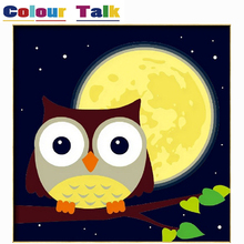 Painting By Numbers DIY Framed Poster Pictures Animals Paint Canvas Coloring Paintng By Number Home Wall Decoration Owl P-2336(China)