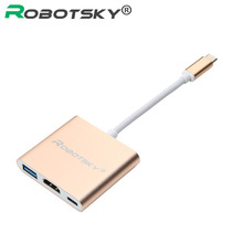 "Robotsky USB 3.1 Type C to HDMI USB 3.0 USB-C HUB Adapter Type-C Extender HD 1080P for Macbook 12"" Chromebook Pixel TV Displayer(China)"