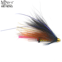 MNFT 4PCS Copper Cone head Grizzly Tube Fly Orange & Black Color Salmon Steelhead Fishing Flies for Salmon Trout And Steelhead
