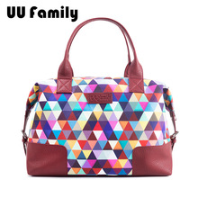 UU Family 2016 New Winter Travel Bags Ladies hand Color Sigsaw Pattern Travel Bags Travel Package Women's Hand Travel Tote