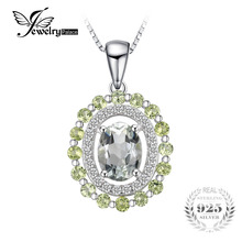 JewelryPalace Fashion 2ct Genuine Round Peridot Oval Green Amethyst Pendant 925 Sterling Silver Fine Jewelry Not Include a Chain(China)