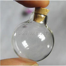 50pcs/lot clear glass ball 24x28mm transparent glass bottle with cork glass vial pendant glass globes glass dome diy finding(China)