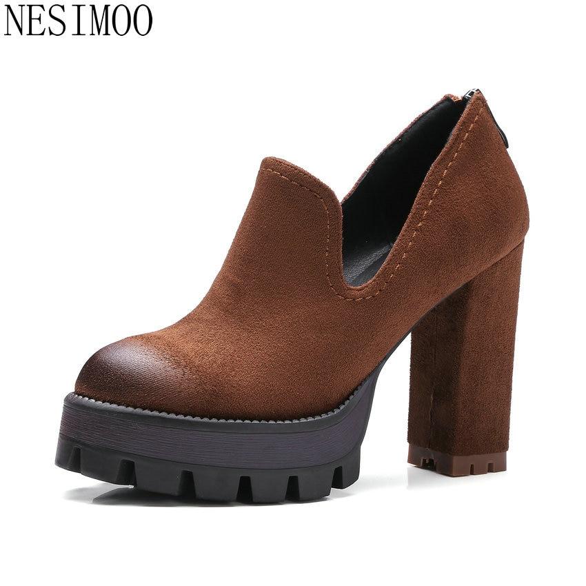 NESIMOO 2018 Wedding Shoes Platform All Match Zipper Womens High Heel Women Pumps  Ladies Square Heel Pumps Big Size 34-42<br>