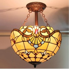 Retro Tiffany Lamp Yellow Baroque 30CM Stained Art Glass with 5W LED bulb ceiling light Restaurant Bar decoration