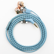 Urizons Blue Sprial Fabric Braided Bracelet earphones 3.5mm plug Wired headphones With Mic for Xiaomi iphone HUAWE Samsung OPPO(China)