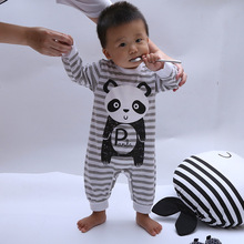 New Autumn fashion  children's rompers baby one pieces long sleeve panda striped body suits for boy clothes 0-2T