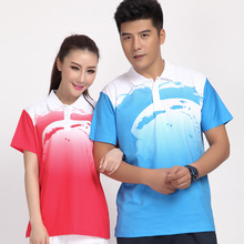 Free Shipping lover style men and women table tennis badminton shirt multi color sport polo shirt