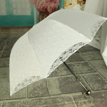 Lace Umbrella Folding Sun Super UV Protection Princess Parasol Black & White(China)