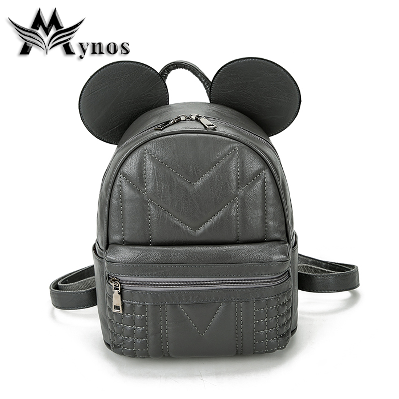 Mynos New Mouse Ear Quality Leather Women Backpack Casual School Bag For Teenagers 3 Colors Soft  Girls School Bacpacks Sac Doc<br>