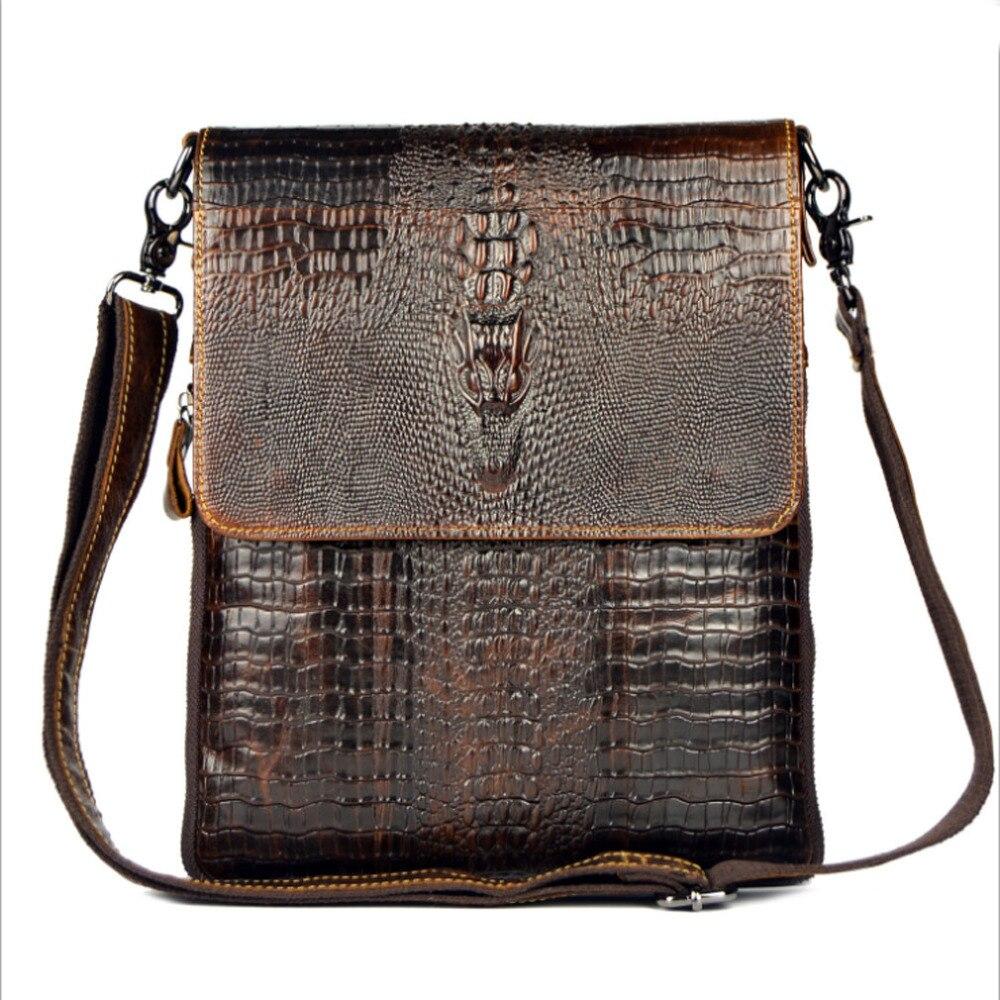2017 New Men Genuine Leather Cowhide Crocodile Patterns Vintage Cross Body Messenger Shoulder Business Casual Bag<br>