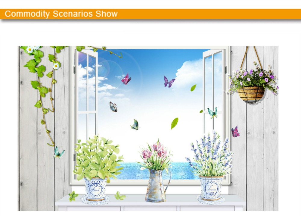 HTB1bSOjfDAKL1JjSZFCq6xFspXax - DIY wall stickers home decor potted flower pot butterfly kitchen window glass