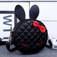 LIN ZUO In 2017 Hot Sale Girls Rabbit Ear Round women bag Leather Handbag Small Shoulder Messenger Bags for women 3 colors L2(China)