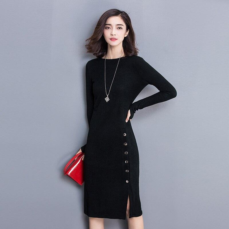 Bodycon Office Winter Dress Plus Size XXXL Split Knitted Sweater Dress Long Sleeve 2017 Autumn Casual Womens Dresses vestidosÎäåæäà è àêñåññóàðû<br><br>