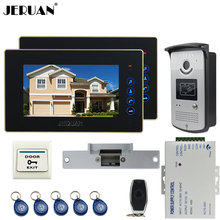 JERUAN Two luxury 7`` LCD Touch video doorphone intercom systemr+700TVL IR Night Vision camera+Cathode lock+FREE SHIPPING