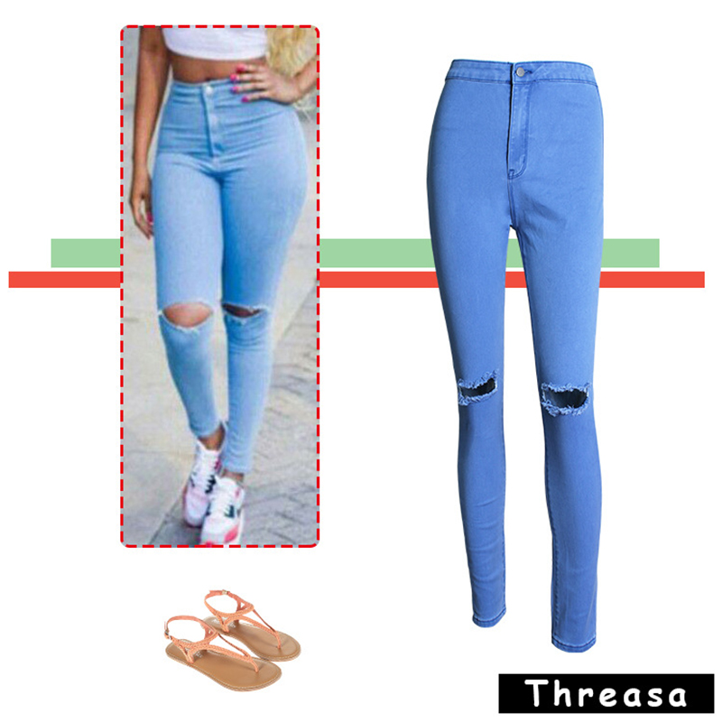 Hot Jeans Woman High Waist Jean Pants Woman Ripped Jeans for Women American Apparel Jean Femme Pure Color Beading and Holes PantОдежда и ак�е��уары<br><br><br>Aliexpress