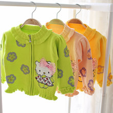 Kids girl hello kitty applique sweater ruffles peter pan collar floral cardigans of baby girls autumn sweaters for toddler girls
