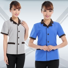 Summer Women Work Wear Short Sleeved Cleaners Hotel Housekeeping Uniforms Restaurant Waiters Jacket Clothing Housekeeper Overall