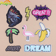 Prajna 1Pcs Cartoon Iron On Embroidered Patch Appliques For Jacket Clothes Pink Flamingo Animal Patches Sewing Hat primitive A1