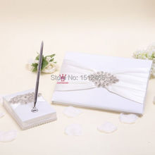 Set of 2pcs Handmade Ivory Diamond Crystal Satin wedding Guest book&Pen Holder set wedding Party Decoration SWD52(China)