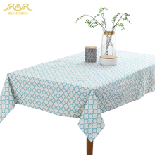 ROMORUS Modern Table Cloth Square Rectangular Cotton Linen Tablecloths Pink Blue Printed Table Desk Cover for Party Banquet Home(China)