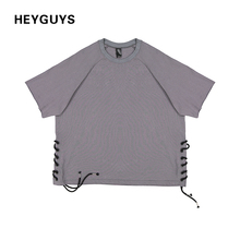 HEYGUYS 2017 over size belt t-shirts fashion hip hop short sleeve brand cute t shirts men vintage designer cotton high quality(China)