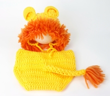 2017 Cute Lion Baby Hat Cap,Knitting Baby Costume Crochet Pattern Newborn Photography Accessories#P0297(China)