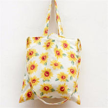 Sunflower Students Shoulder Bag Ladies Forest Style Pastoral Handbag 2016 Causal Large White Plain Flower Canvas Tote Bags Women
