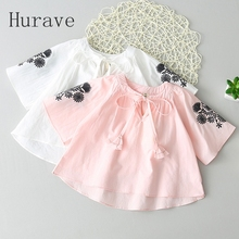 Hurave Fashion Kids Girls Shirt clothes floral children embroidery dress girl with belt shirt blouses for girl