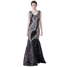 high quality embroidery flower sequins dress sexy low-cut scoop neck sleeveless floor length mermaid long party dress maxi dress