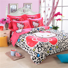 Cartoon princess hello kitty bedding set linen duvet cover bed sheet pillow cases twin full queen king size 4pcs home textiles