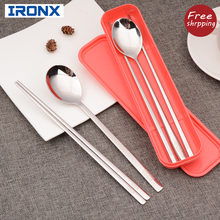 Portable cutlery set korean dinnerware set 304 stainless steel long handle dinnerware set