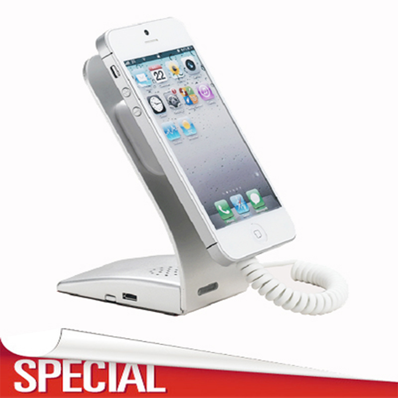Cell phone security display stand iphone alarm support metal anti theft  holder with charging function for retail shop show<br>