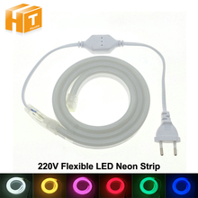 LED Neon Strip AC220V 120 LED/Meter 2835 Flexible Neon Light Waterproof Outdoor Decorative LED Strip with Power Plug.(China)