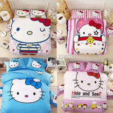 Cartoon Hello Kitty 4Pc Twin/Full/Queen/King Size Bed Quilt/Duvet/Doona Cover Set Flat Fitted Sheet Kids Child Big Image Print
