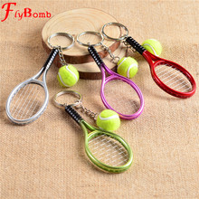 Mini Metal Tennis Racket Handmade Souvenir Cute Tenis Racquet Ball Key-chain Key Sports Chain Car Bike Keyring Novelty Gift