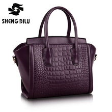 100%Genuine Leather Handbags Women Crocodile Handbag Messenger Shoulder Bags First Layer Cowhide Leather Zipper Party Bag purple