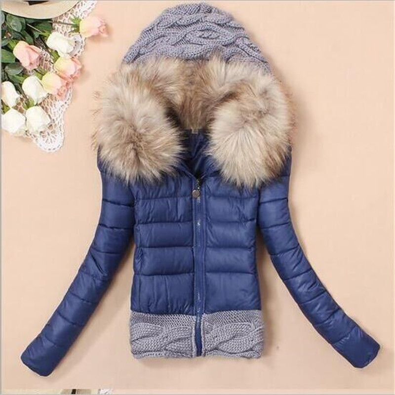 2017 New Winter Fashion Down Cotton Coat Women Fur Collar Hooded Warm Wadded Jacket Wool Knitted Stitching Cotton Jacket A1460Одежда и ак�е��уары<br><br><br>Aliexpress