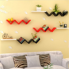 W -type Books Shelves Wall Hanging Shelf Bedroom Books Goods Storage Holder Living Room Wood Craft Home Decor