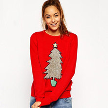 2017 Women Casual Winter Sweater O-Neck Long Sleeve Christmas Tree Pattern Pullover Knitting Sweater Tops Shirt(China)