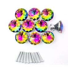 Hot Selling Fast Shipping 10 Pcs multicolors Crystal Glass Clear Cabinet Knob Drawer Pull Handle Kitchen Door Wardrobe Hardware