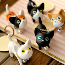2016 New Fashion Cute Kawaii Metal Kitten Cat Key Chain Ring Anime Keychain Novelty Creative Trinket Charm Women Girl Kids O-347(China)