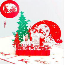 3pcs Christmas Eve Greeting Cards 3D laser Cut Pop Up Paper Handmade Postcard Customize Xmas Party Love Gifts Souvenirs Supplies(China)